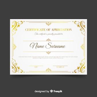Szablon certyfikatu kreatywnego ze złotymi elementami
