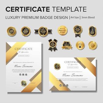 Szablon certyfikatu kreatywnego ze złotymi szczegółami