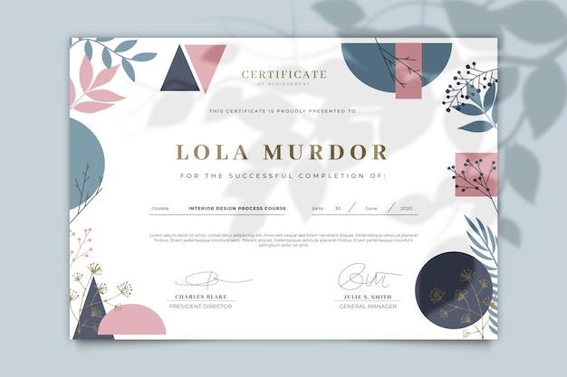 Szablon certyfikatu kwiatowy