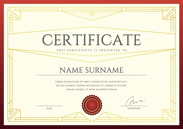 Szablon certyfikatu lub dyplomu wektor gotowy do wydruku