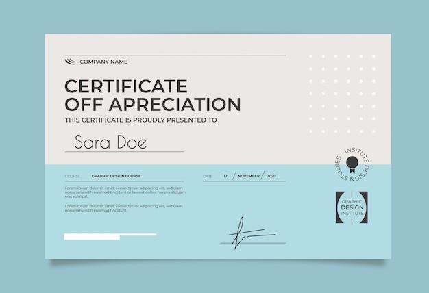 Szablon certyfikatu minimalnego niebieski i biały