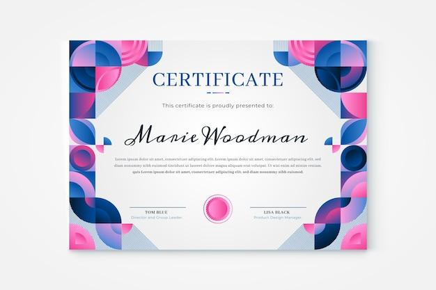 Szablon Certyfikatu Mozaiki Gradientowej Darmowych Wektorów