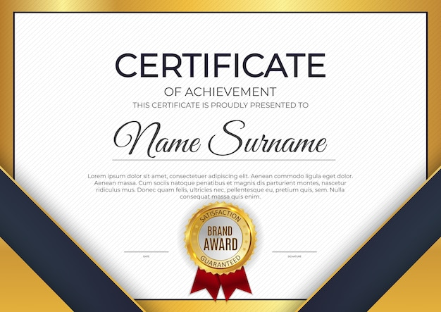 Szablon certyfikatu nagrody marki