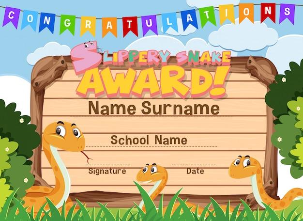 Szablon certyfikatu nagrody śliskiego węża z wężami w tle