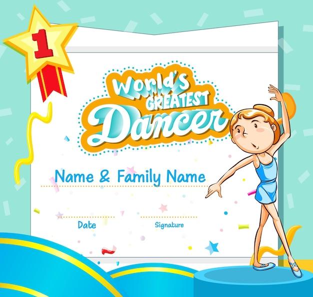 Szablon certyfikatu najlepszego tancerza na świecie