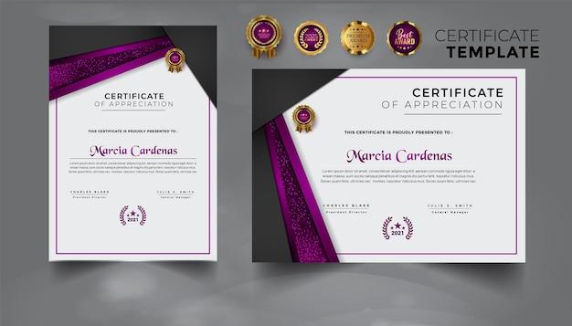 Szablon certyfikatu nowoczesnego profesjonalnego zestawu