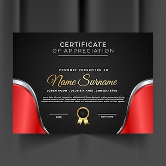 Szablon certyfikatu nowoczesny czerwony i srebrny
