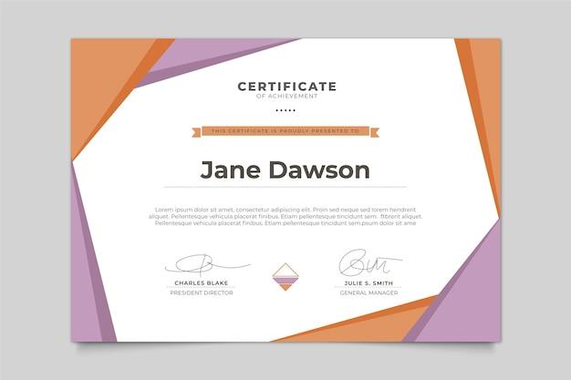 Szablon certyfikatu nowoczesny design