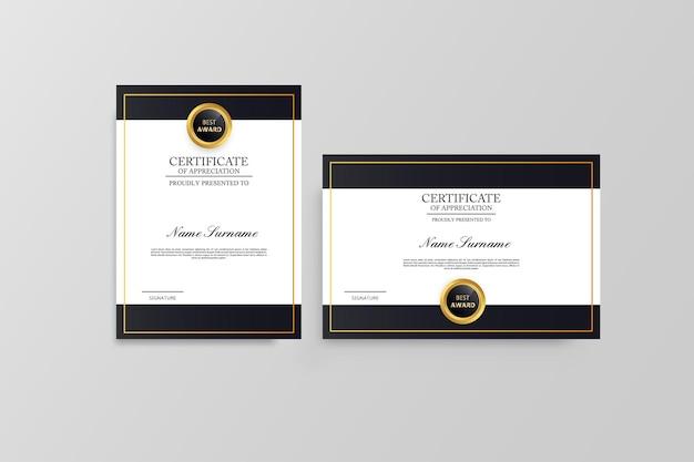 Szablon certyfikatu nowoczesny dyplom
