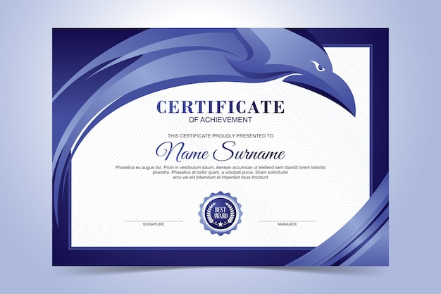 Szablon certyfikatu nowoczesny streszczenie głowa orła