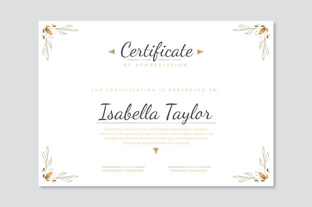 Szablon certyfikatu nowoczesny z elegancką koncepcją