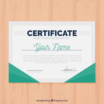 Szablon certyfikatu o płaskich kształtach