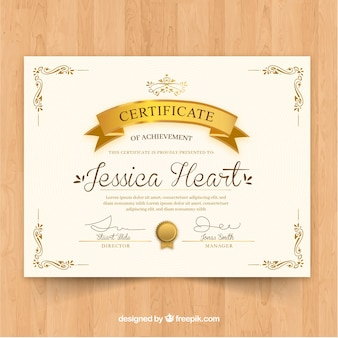Szablon certyfikatu o złotym kolorze
