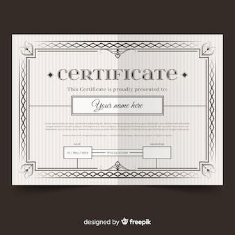 Szablon certyfikatu ozdobnych w stylu retro