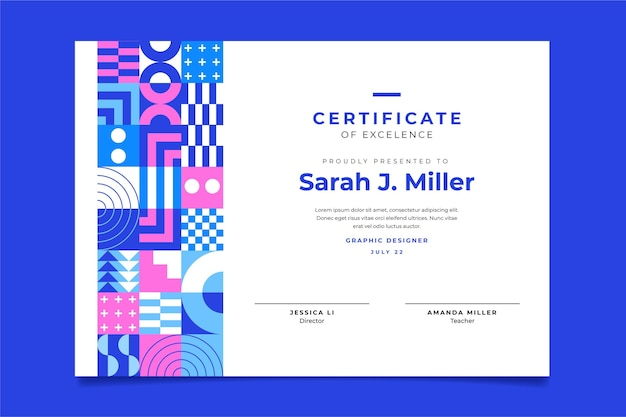 Szablon certyfikatu płaskiej mozaiki
