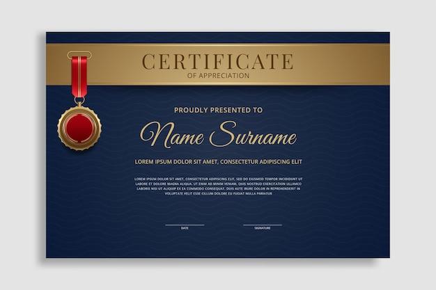Szablon certyfikatu premium nagradza tło dyplomu