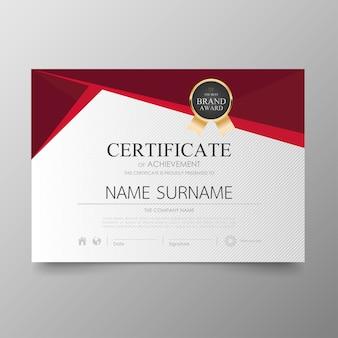 Szablon certyfikatu premium nagrody dyplom wartość tła i luksusowy układ.