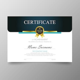 Szablon certyfikatu premium nagrody dyplom wartość tła i luksusowy układ