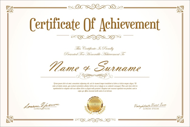 Szablon certyfikatu projektu retro