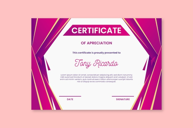 Szablon certyfikatu streszczenie różowe kształty