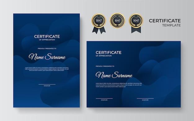 Szablon certyfikatu uznania, kolor złoty i niebieski. czysty nowoczesny certyfikat ze złotą odznaką. szablon granicy certyfikatu z luksusowym i nowoczesnym wzorem linii. dyplom szablon wektor