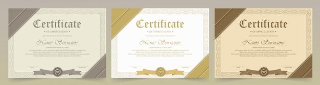Szablon certyfikatu uznania z rocznika złotą obwódką