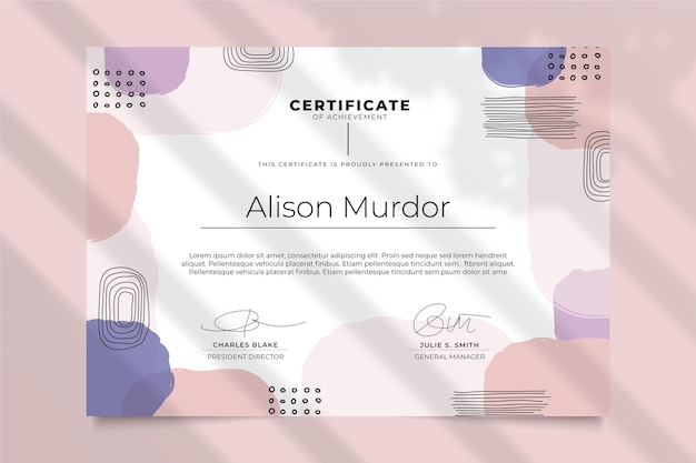 Szablon certyfikatu w nowoczesnym stylu