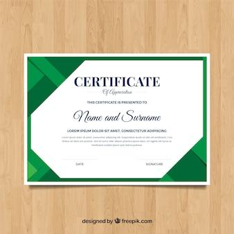 Szablon certyfikatu w płaskich kolorach