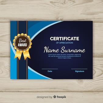 Szablon certyfikatu w stylu płaski
