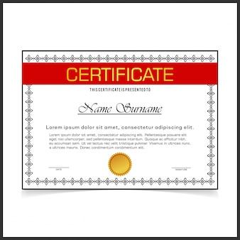 Szablon certyfikatu wektorowego z ciemnymi granicami designe