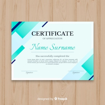 Szablon certyfikatu z abstrakcyjnych kształtów