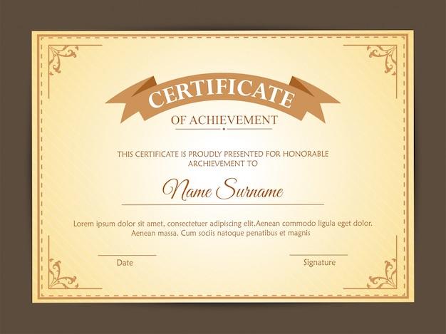 Szablon certyfikatu z czystym i nowoczesnym wzorem.