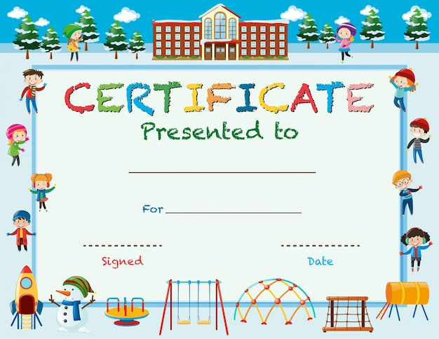 Szablon certyfikatu z dziećmi w zimie w szkole