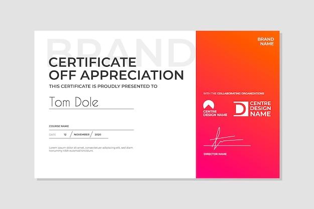 Szablon certyfikatu z gradientem