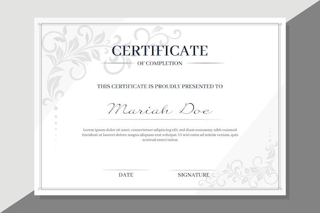 Szablon certyfikatu z kwiatowymi elementami