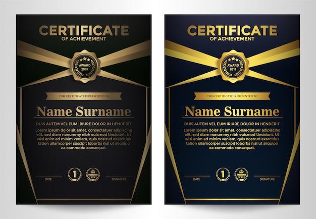 Szablon certyfikatu z luksusowym i nowoczesnym designem