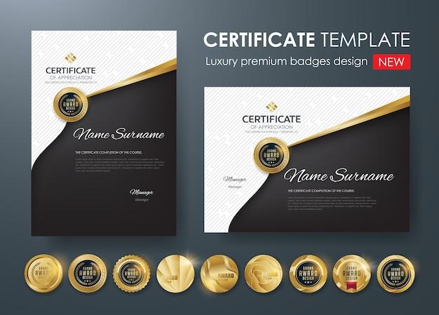 Szablon certyfikatu z luksusowym wzorem