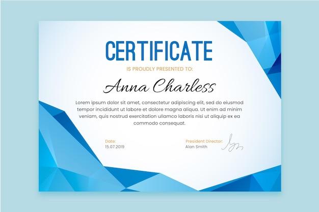 Szablon certyfikatu z niebieskimi geometrycznymi kształtami
