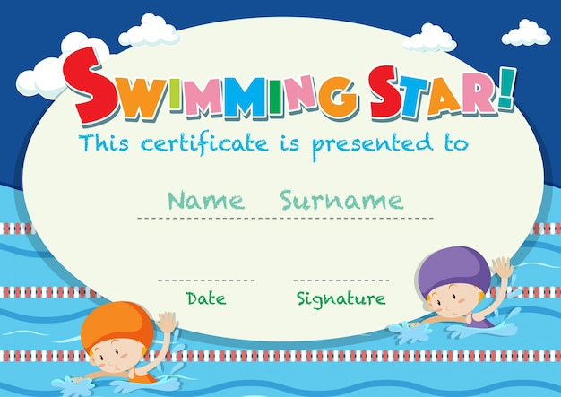 Szablon certyfikatu z pływaniem dla dzieci