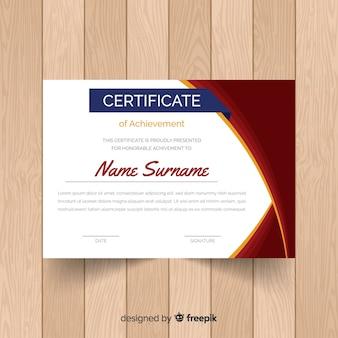 Szablon certyfikatu z zakrzywioną linią