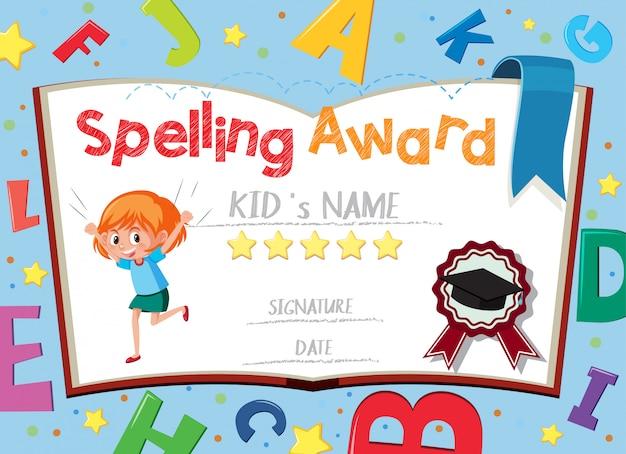 Szablon certyfikatu za pisownię z alfabetem