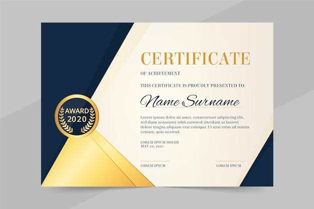 Szablon certyfikatu zawodowego