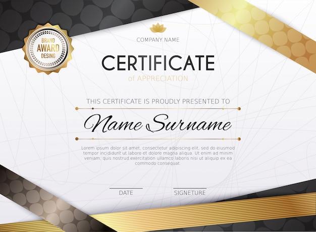 Szablon certyfikatu ze złotym elementem dekoracyjnym. ukończenie dyplomu, nagroda. szablon