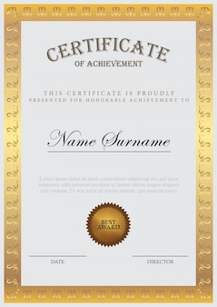 Szablon certyfikatu ze złotym elementem i nowoczesnym wzornictwem, dyplom