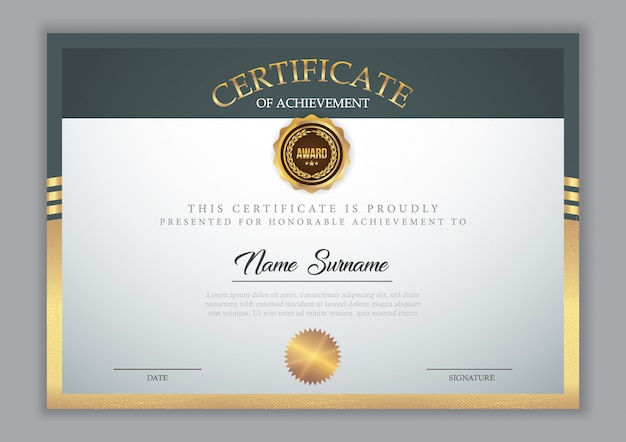 Szablon certyfikatu ze złotym elementem