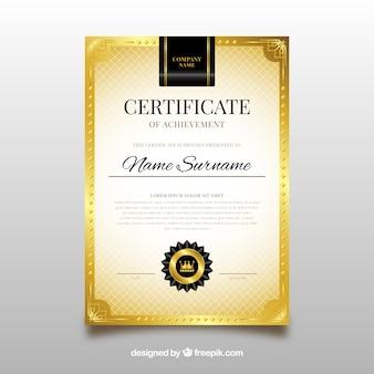 Szablon certyfikatu ze złotymi elementami