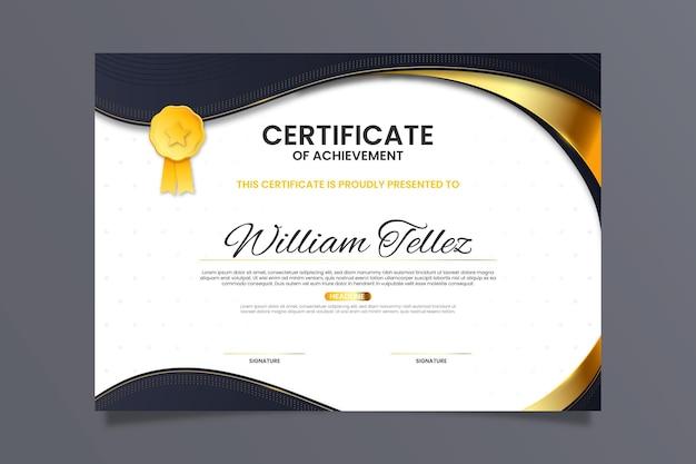 Szablon certyfikatu złotego luksusu