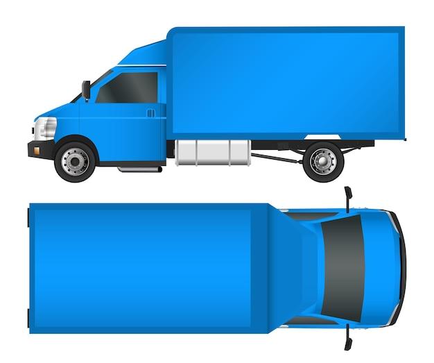 Szablon ciężarówki. furgonetka wektor ilustracja eps 10 na białym tle. dostawa miejskiego pojazdu użytkowego.