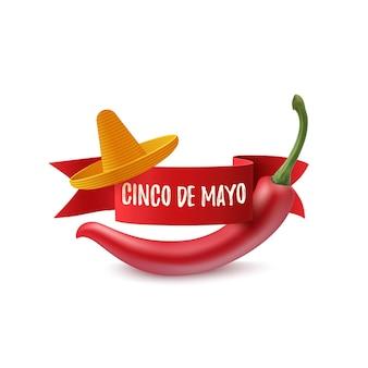 Szablon cinco de mayo z czerwoną wstążką, sombrero i czerwoną papryką chili