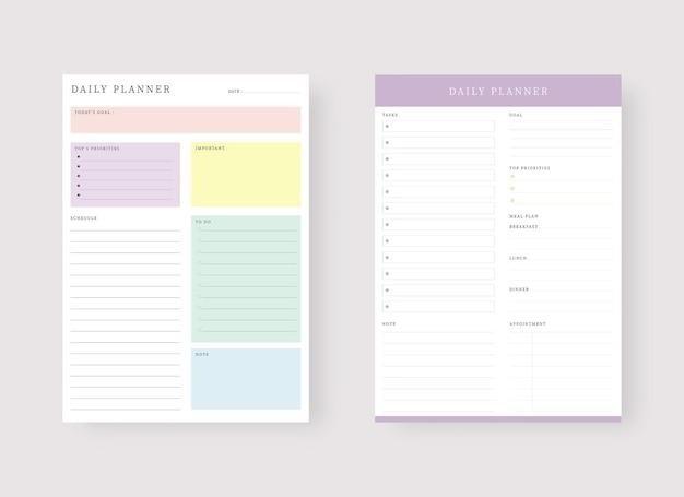 Szablon codziennego planowania zestaw plannerów i listy zadań nowoczesny zestaw szablonów do planowania